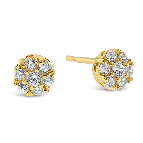 Bitter Sweet Gold Plated Sterling Silver Cubic Zirconia Round Earrings 141044
