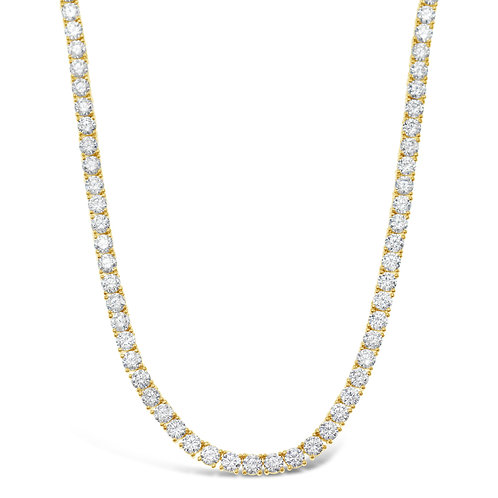 "Bitter Sweet Gold Plated Sterling Silver Round Cubic Zirconia Tennis 16"" Necklace 143375"