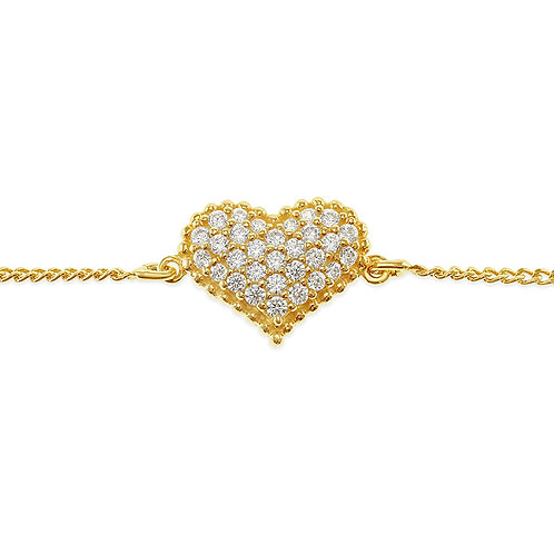 Bitter Sweet Gold Plated Sterling Silver Cubic Zirconia Heart Bracelet 141837