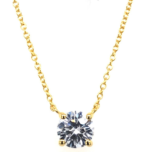Bitter Sweet Gold Plated Cubic Zirconia Round  8 Heart 8 Arrow Cut Necklace 143475