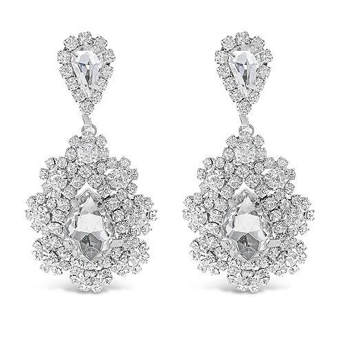 Fashion Silver Rhinestones Tear Drop Earrings 142194