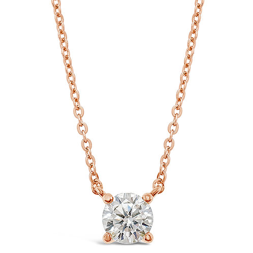 Bitter Sweet Rosegold Plated Sterling Silver Cubic Zirconia Necklace 143311