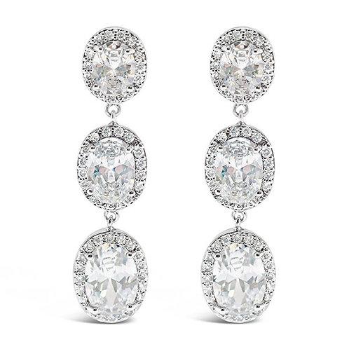Bitter Sweet Bridal Silver Cubic Zirconia Oval Drop Earrings 121005