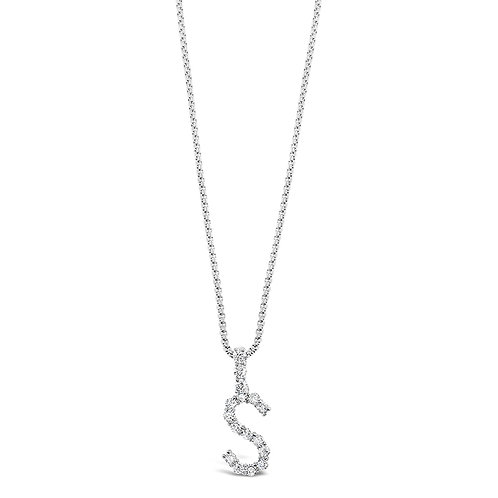 Bitter Sweet Jewelery Stainless Steel Cubic Zirconia Initial S Necklace 142325