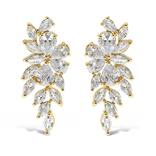 Bitter Sweet Gold Cubic Zirconia Floral Drop Earrings 142869