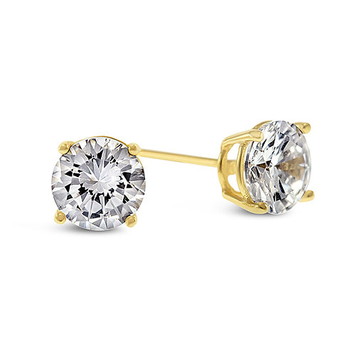 Bitter Sweet Yellow Gold Plated Sterling Silver Cubic Zirconia 5mm Studs 104999