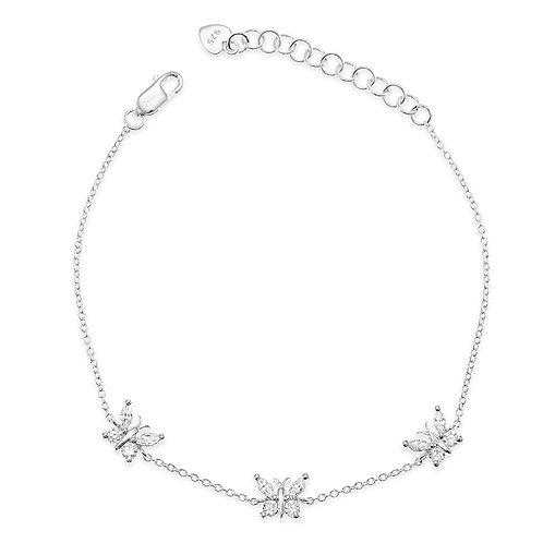 Bitter Sweet Sterling Silver Cubic Zirconia Butterfly Bracelet 133007