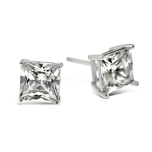 Bitter Sweet Sterling Silver Cubic Zirconia Square 7mm Studs 001469