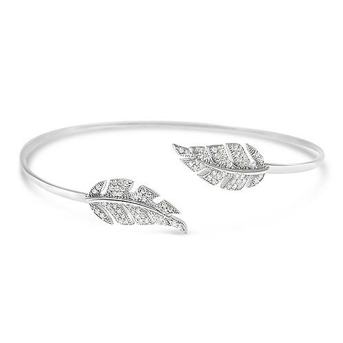 Bitter Sweet Sterling Silver Cubic Zirconia Leaf Bangle 126485