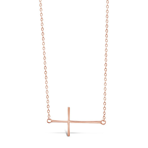 Bitter Sweet Rose Gold Plated Sterling Silver Cross Sideway Necklace 142494