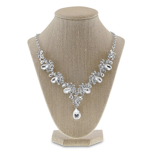 Silver Crystal Necklace & Earrings Set