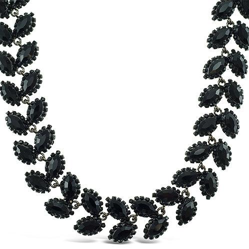 Costume Black Crystal Leaf Necklace 140988