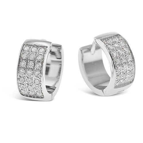 Bitter Sweet Jewelery Stainless Steel Silver Cubic Zirconia Huggie Earrings 142419