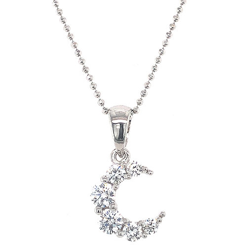 Bitter Sweet Sterling Silver Cubic Zirconia Moon Necklace 133009