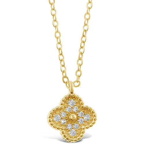 Bitter Sweet Gold Plated Sterling Silver Cubic Zirconia Flower Necklace 143395