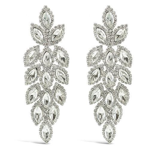 Fashion Silver Crystal Leaf Drop Earrings  140982