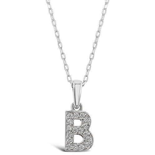 Bitter Sweet Sterling Silver Cubic Zirconia Initial B Necklace 135918