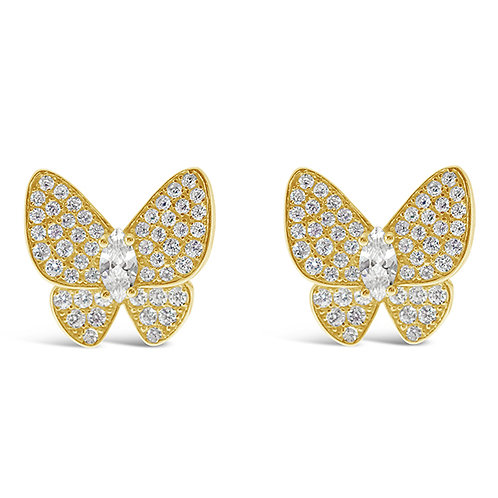 Bitter Sweet Gold Plated Sterling Silver Cubic Zirconia Butterfly Earrings 143389