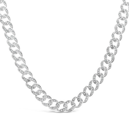 Costume Pave Cuban Link Necklace 136351