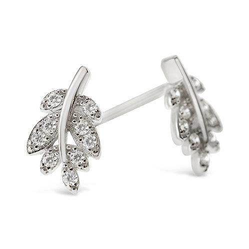 Sterling Silver Cubic Zirconia Leaf Earrings 141764