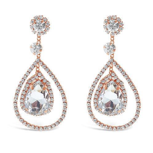 Rose Gold Rhinestones Tear Drop Earrings 142190