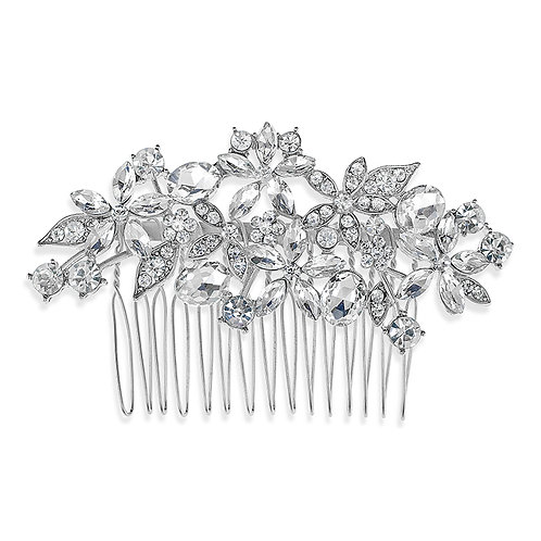 Bridal Silver Flower Hair Comb 142381