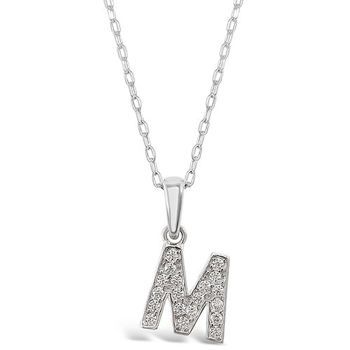 Bitter Sweet Sterling Silver Cubic Zirconia Initial M Necklace 135929