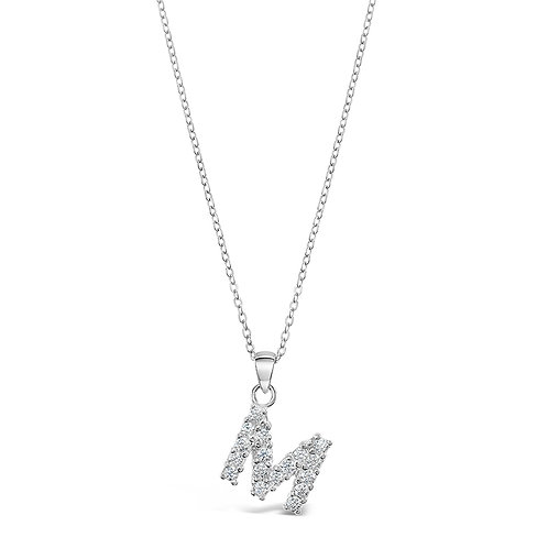 Sterling Silver Cubic Zirconia Initial M Necklace