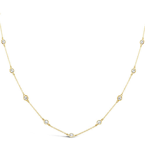 Bitter Sweet Gold Plated Sterling Silver Cubic Zirconia 4mm Bazel Necklace 143313