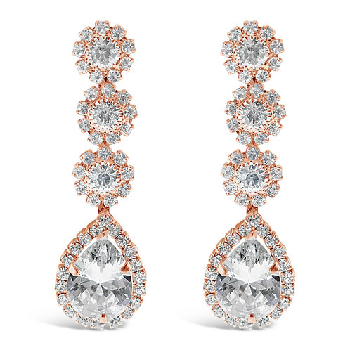 Fashion Rose Gold Rhinestones Tear Drop Earrings 142197