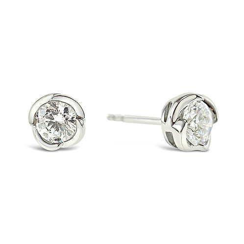 Sterling Silver Cubic Zirconia Flower Earrings 131180