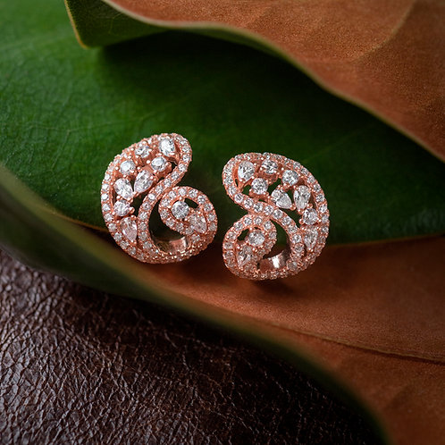 Rose Gold Plated Sterling Silver Cubic Zirconia Earrings 132697