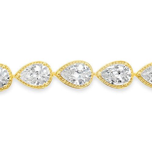 Bitter Sweet Bridal Gold Cubic Zirconia Tear Drop Halo Bracelet 143256