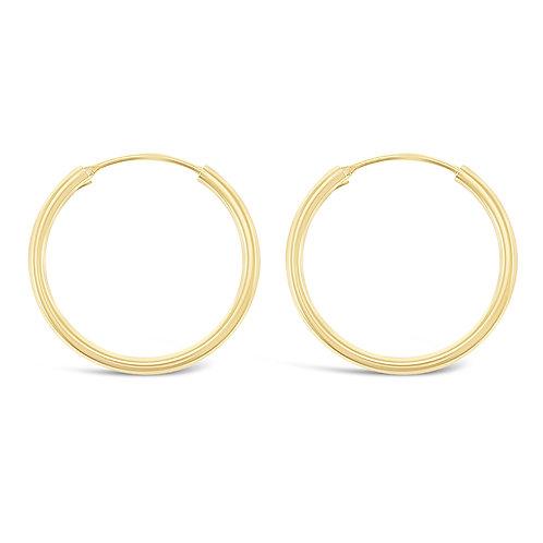 Bitter Sweet Gold Plated Sterling Silver Plain 25mm Hoops Earrings 141790