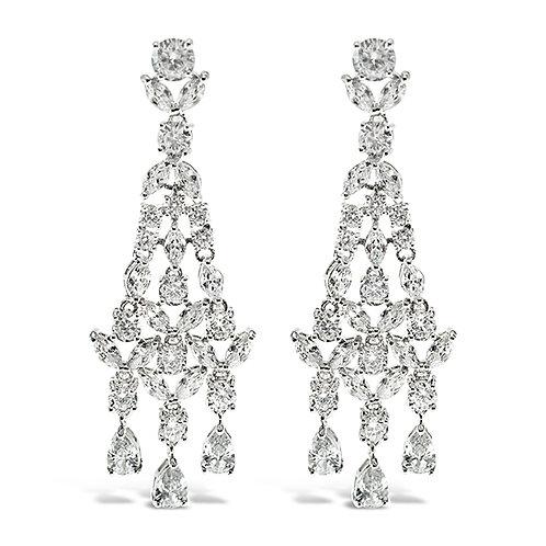 Bitter Sweet Bridal Silver Cubic Zirconia Drop Chandelier Earrings 130403