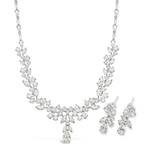 Bitter Sweet Bridal Silver Cubic Zirconia Necklace & Earrings Set 137440