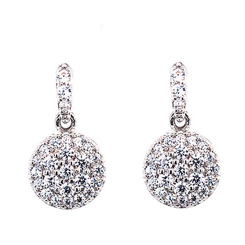 Bitter Sweet Sterling Silver Cubic Zirconia Round Earrings 132023