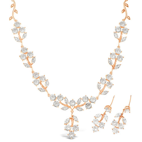 Bitter Sweet Bridal Rose Gold Cubic Zirconia Necklace & Earrings Set 142902