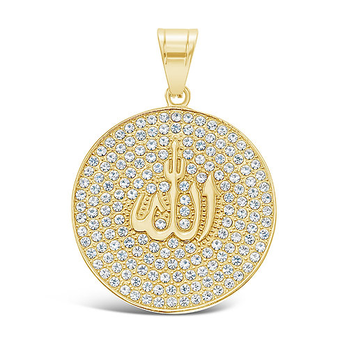 Bitter Sweet Jewellery Stainless Steel Gold Crystal Allah Pendant 142514