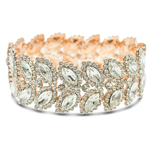 Fashion Rose Gold Crystal Elastic Leaf Bracelet 140976