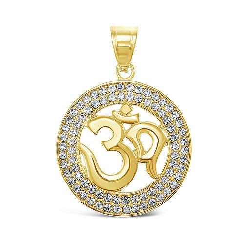 Bitter Sweet Jewellery Stainless Steel Gold Crystal OM Pendant 142517