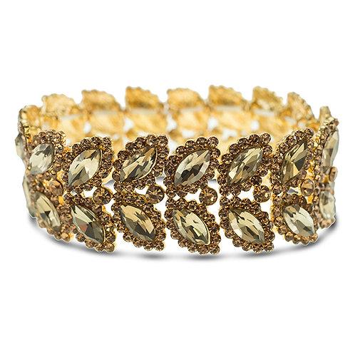 Fashion Gold Crystal Elastic Leaf Bracelet 140978