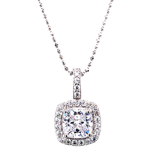 Bitter Sweet Sterling Silver Cubic Zirconia Square Necklace 139380