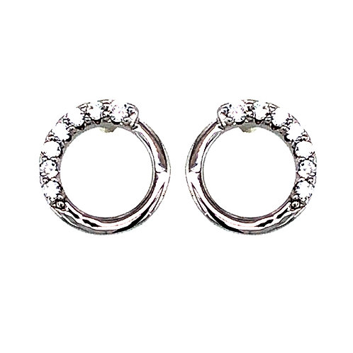 Bitter Sweet Sterling Silver Cubic Zirconia Pave Circle Stud Earrings 143554