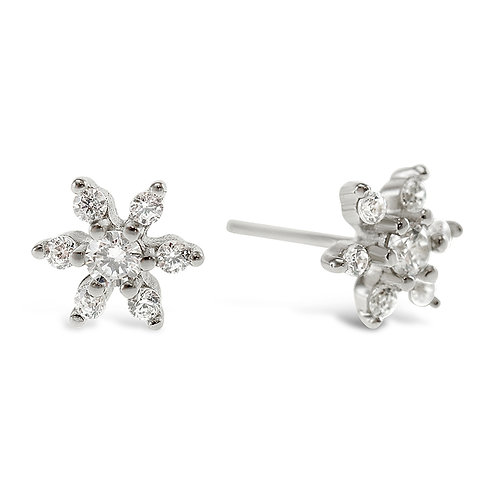Sterling Silver Cubic Zirconia Flower Earrings 141767
