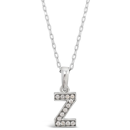 Bitter Sweet Sterling Silver Cubic Zirconia Initial Z Necklace 143372