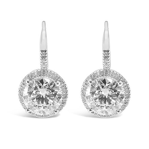Sterling Silver Cubic Zirconia Round Earrings 132234