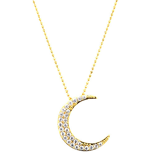 Gold Plated Sterling Silver Cubic Zirconia Moon Necklace 143513