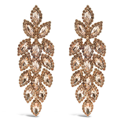 Fashion Rose Gold Crystal Leaf Drop Earrings 140984