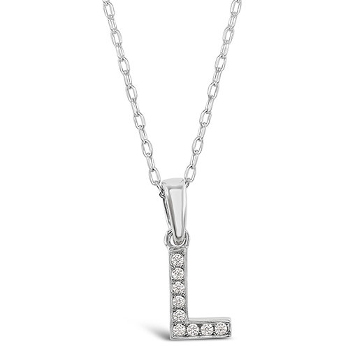 Bitter Sweet Sterling Silver Cubic Zirconia Initial L Necklace 135928